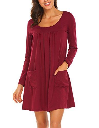 trudge Damen Rundhals Irregulär Kleid Langarmkleid Minikleid T-Shirt Kleid (EU 38 (Herstellergröße: M), Weinrot)