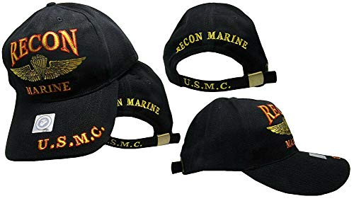 Trade Winds Marines Marine Corps EGA Recon USMC Black Red Gold Embroidered Cap Hat