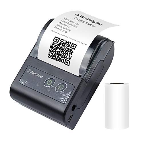 Aibecy Impresora térmica de recibos BT inalámbrica portátil de 58 mm Mini impresora móvil Bill con batería recargable Comando de impresión ESC/POS Compatible con Android/iOS/Windows