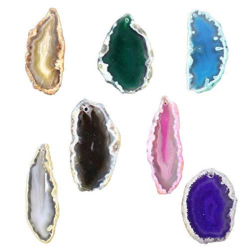 7 piezas de Piedra Ágata Natural Pulida - Colgante de Cuarzo Ágata Irregular - Se puede utilizar para la decoración de joyas