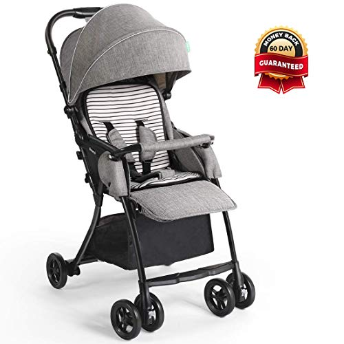 Dourxi Lightweight Stroller, One-Hand Fold Baby Stroller with 5-Point Safety Harness and...