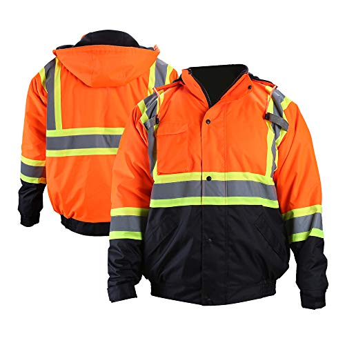 FONIRRA High Visibility Safety Bomber Jacket for Men with Quilted Lining, ANSI Class 3 Winter Waterproof Work Jacket Hoodie with Black Bottom(Orange,2XL)