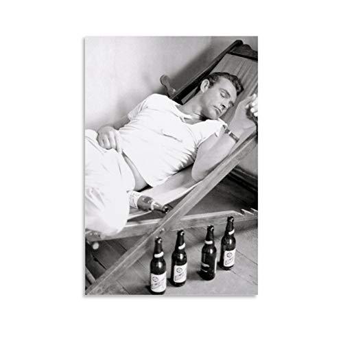 NQSB Film Stars Sean Connery 007 James Bond 3 Poster decorativo su tela da parete per soggiorno, camera da letto, 40 x 60 cm