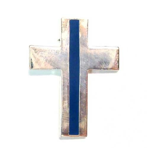 BrotherhoodProducts Thin Blue Line Chaplain Silver Cross Lapel Pin Package of Two