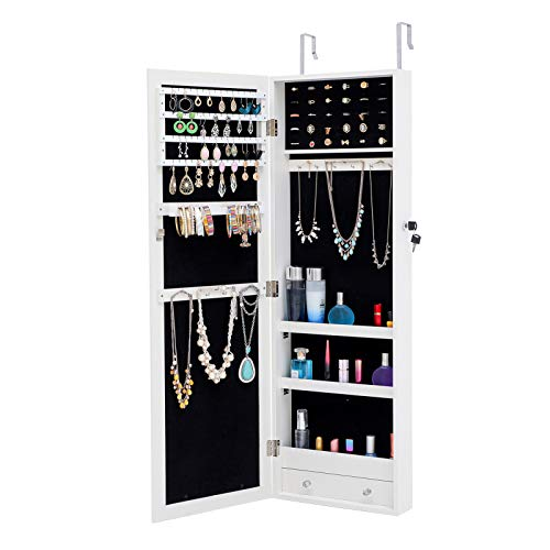 liyhh Fashion Women LED Light Jewelry Cabinet with Full-Length Mirror Standing Lockable Jewelry Armoire Holder Storage Organizer for Living Room Bedroom White