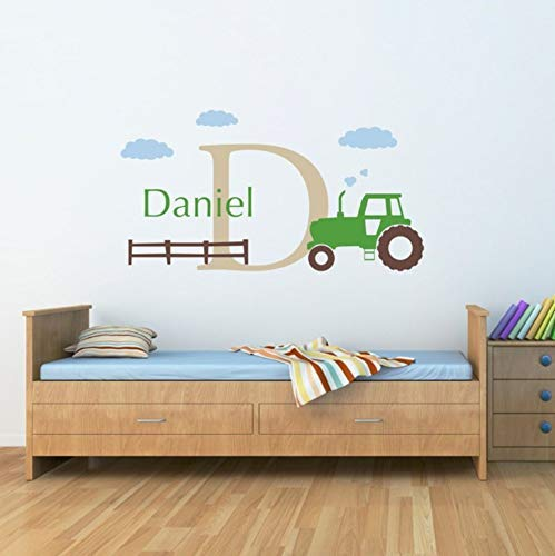 Lovemq 55X30 Cm Große Traktor Wandtattoo Set Personalisierte Jungen Name Und Anfangsaufkleber Wandkunst Kinderzimmer Dekor