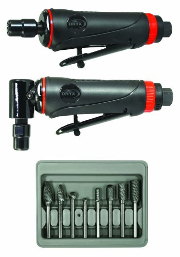 Astro Pneumatic Tool 219 ONYX 3pc Die Grinder Kit w/ 90° Die Grinder, Die Grinder & 8pc Double Cut Carbide Rotary Burr Set