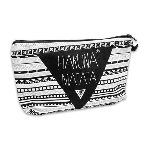 Loomiloo Kosmetik-Tasche Hakuna Matata - Aztec Kulturbeutel - Reiseapotheke - Urlaubs-Beutel - Make Up Bag - Full Print Schminktasche - Kulturtasche