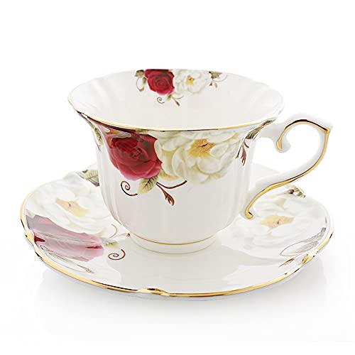 XIAOLINGTONG Tazas de té de porcelana de hueso/tazas de café y platillos conjuntos con cucharas, juego de 3 piezas de té de cerámica taza de café para el desayuno cocina casera