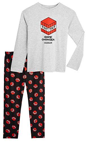 Minecraft Pijama Niño, Ropa para Niño Algodon 100%, Conjunto Dos Piezas con Camiseta Manga Larga y Pantalones, Regalos para Niños y Adolescentes 5-14 Años (5-6 años, Gris)