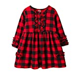 Kids Toddler Baby Girls Christmas Dress Outfits Long Sleeve Buffalo Plaid Ruffles Dress Shirt Tunic Tops 4-5T