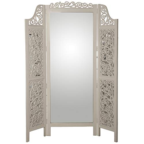 DRW Biombo con 3 Paneles con Espejo de Madera de Mango y DM en Blanco
