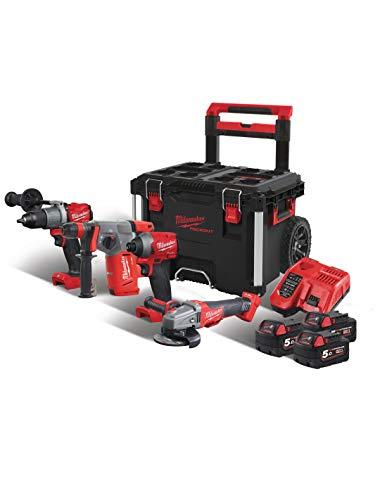 Milwaukee 4933471149 4933471149-Juego de 4 maletas (18 V, con ruedas M18 Fpp4b-503p), Rojo y negro