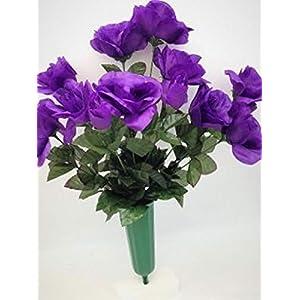 Cemetery Silk Flower Vase Purple Open Rose Bouquet