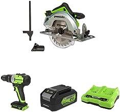 Greenworks Tools 1500907 Sierra Circular, 24 V + Taladro/Atornillador GD24DD65 + Batería G24B4 2ª generación + Batería de doble ranura Cargador universal G24X2C