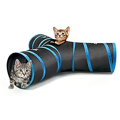 Pawaboo Cat Toys, Cat Tunnel Tube 3-Way Tunnels 25x40cm Extensible Collapsible Cat Play Tent Interactive Toy Maze Cat House Bed with Balls and Bells for Cat Kitten Kitty Rabbit Small Animal, Blue from Pawaboo