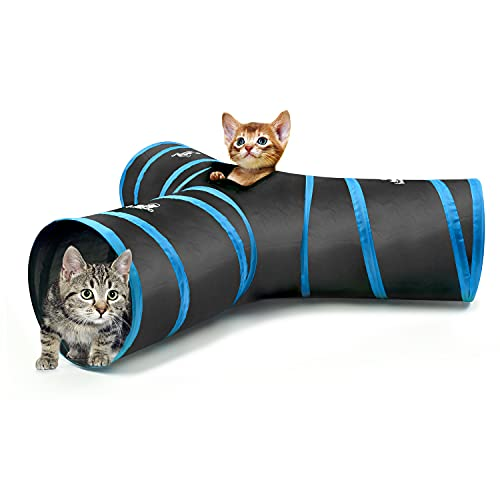 Pawaboo Cat Toys, Cat Tunnel Tube 3-Way Tunnels 25x40cm Extensible Collapsible Cat Play Tent...