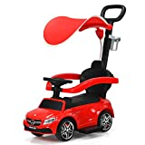 COSTWAY 3 in 1 Ride on Push Car, Licensed Mercedes Toddler Slider Walker with Parental Handle, Safety Barrier, Sun Canopy, Storage Space, Music & Horn, Convertible Baby Stroller for Boys Girls (Red)