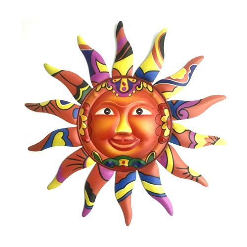 Bestomrogh Metal Sun Wall Art Sculpture, Smiling Sun Art Decor Hanging for Indoor Outdoor Home Garden Courtyard(Multi 1)