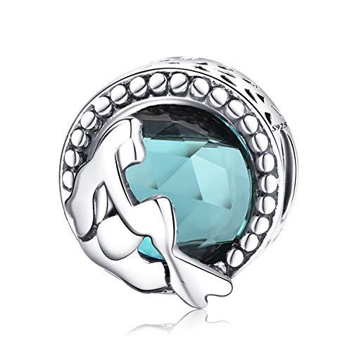 ENYU Charms Bead Abalorio de Sirena,Originales Dijes de Plata Charm para Pulseras Pandora&Chamilia y Collares,Joyería para Mujer y Niña