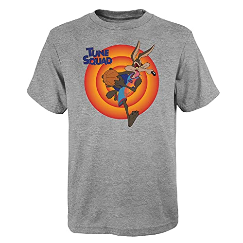 Space Jam 2 A New Legacy Tune Squad NN Wile E. Coyote Youth Size NBA Looney Tunes - Camiseta para niño, gris, 170 cm