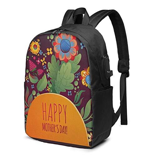 WEQDUJG Mochila Portatil 17 Pulgadas Mochila Hombre Mujer con Puerto USB, Día de la Madre 55 Mochila para El Laptop para Ordenador del Trabajo Viaje