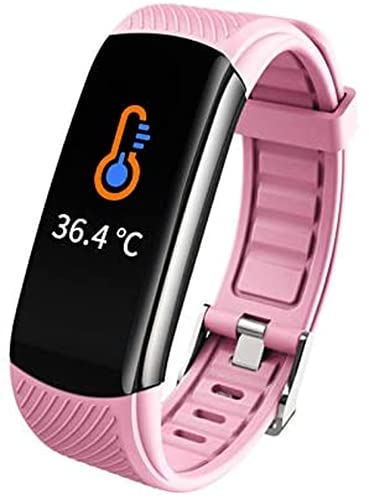 Reloj inteligente, rastreador de actividad física con termómetro de temperatura corporal, oxígeno en sangre, monitor de presión arterial, monitor de sueño (rosa)