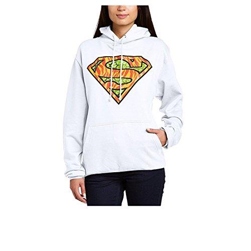 DC Comics Official Superman Wild Logo Womens Hooded Sweatshirt Sudadera, Blanco, 44 para Mujer