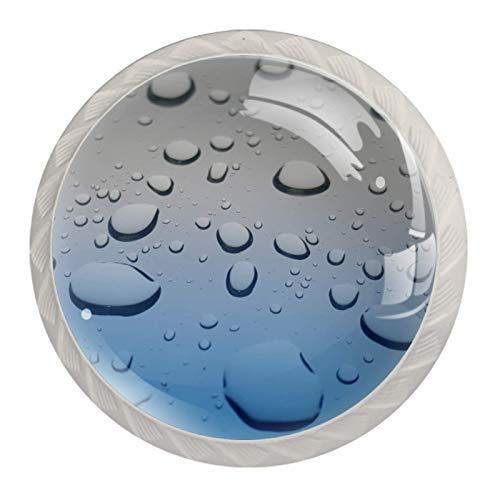 Z&Q Perlas Azules Juego de 4 tiradores modern de Base de Plastico & Cristal, con distintos diseños, ideales para puertas, armarios, cajones y cómodas 35mm