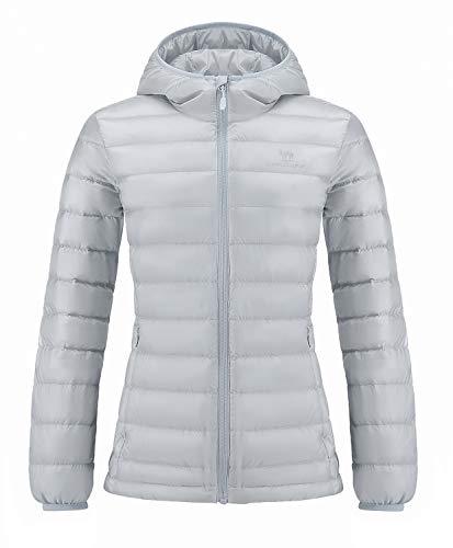 CAMEL CROWN Damen Daunenjacke Packbare mit Kapuze Ultraleicht Winddicht Jacke Winterjacke Daunenmantel Wintermantel Übergangsjacke Warme Jacke Grau