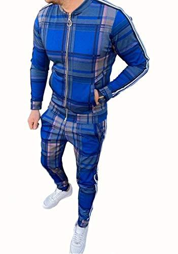 BAAFG Conjunto de chándales de los Hermanos Hombre Plaid Completo Zip de Manga Larga Fondos de Joggings Casual Sports Swearsuit con Bolsillos Blue-XXL