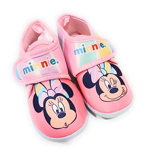 Zapatillas Minnie Mouse de Estar por Casa - Zapatillas Disney Minnie Mouse Niñas Pantuflas Media Bota Velcro (Numeric_27)