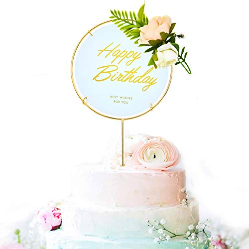 Gold Circle Happy Birthday Cake Topper, Metal and Acrylic Cake Decoration with Pink Artificial Flower Cluster, Birthday Party Supplies for Girls and Women