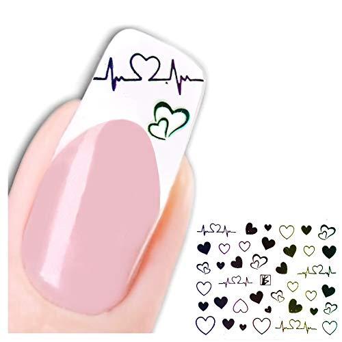 JUSTFOX - 3D Nagel Sticker Nail Art Aufkleber Herzschlag Herz Design