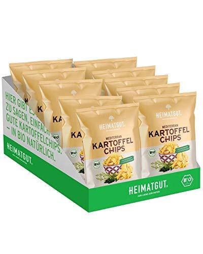 HEIMATGUT® Bio Chips Mediterran | Vegane Kartoffel-Chips ohne Konservierungsstoffe | Mit Rosmarin & Thymian | Ohne Palmöl & Gentechnik | Glutenfrei & Ohne Künstliche Zusätze (8 x 125gr)