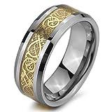 MunkiMix Tungsteno Anillo Ring Banda Venda Plata Oro Dorado Tono Nudo Celta Irlandesa Dragón Alianzas Boda Talla Tamaño 22 Hombre