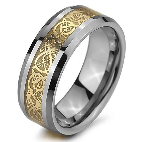 MunkiMix Tungsteno Anillo Ring Banda Venda Plata Oro Dorado Tono Nudo Celta Irlandesa Dragón Alianzas Boda Talla Tamaño 35 Hombre