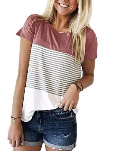 Tuopuda Camisetas para Mujer Casual Manga Corta Camisa Rayas