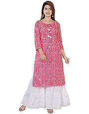 Sanganeri Kurti Women's Cotton Readymade Salwar Suit