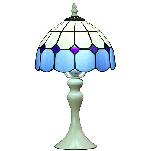 Bieye L30042 Lámpara de mesa estilo vitral, estilo mediterráneo Tiffany, de 8 pulgadas, con base de metal, altura de 15 pulgadas
