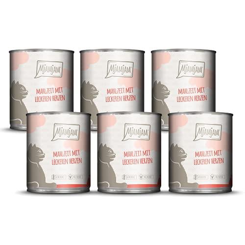 MjAMjAM - Premium Nassfutter für Katzen - Mahlzeit mit leckeren Herzen, 6er Pack (6 x 800 g), getreidefrei mit extra viel Fleisch