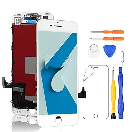 Yodoit för iPhone 7 LCD-skärm och digitaliserare montering glas pekskärm ersättning med ram + reparationsverktyg kit (4,7 tum vit)
