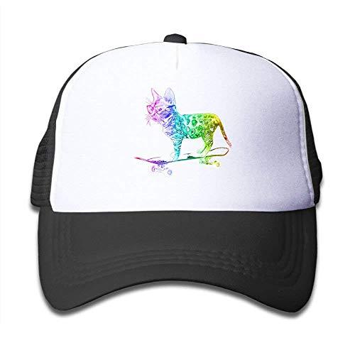 Fashion Home Rainbow Skateboard Cat Girl Snapback Mesh Baseball Hats Youth Size Cap