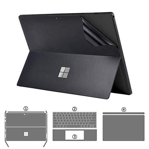 XISICIAO Full Set Protector for Surface Pro 6/ Pro5 Microsoft 2017 Released 12.3-Inch Skin Sticker Decals[Body+Edge+Keyboard Cover Two Sides+Palm Rest] (Frosted Black 4-in-1)