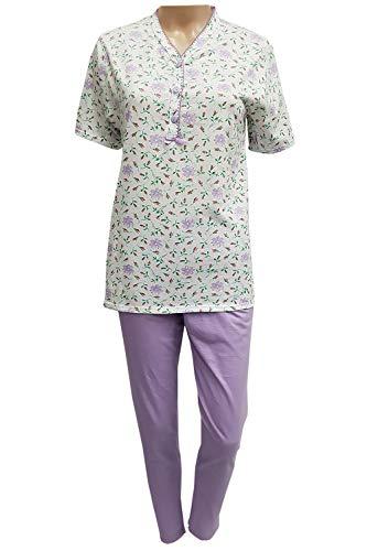 Pijama de mujer de verano de algodón ligero CRV Cravana de manga corta sin mangas, pantalón corto y pirata producto italiano Mada en Italia M L XL XXL 3XL XXXL 4XL Elin 201 Lila L