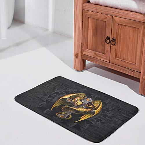 Felpudo de bienvenida con diseño de dragón dorado lavable al aire libre para decoración del hogar, color blanco 45,7 x 76,2 cm
