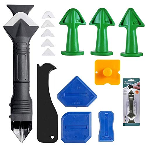 Kit de herramientas de calafateo de 15 piezas, herramientas de calafateo de silicona 3 en 1 para cocina, baño, junta de azulejos, junta de fregadero de ventana