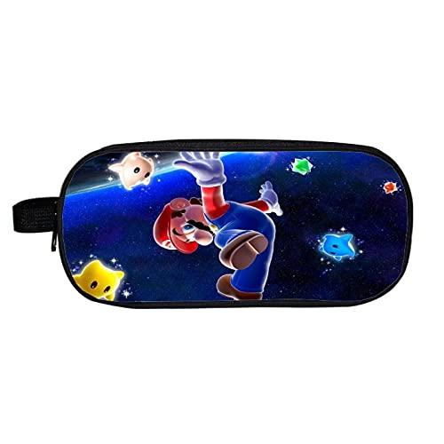 Estuche para lápices Mario gran capacidad impresión Mario, estuche cosméticos soporte, doble capa, papelería dibujos animados niños