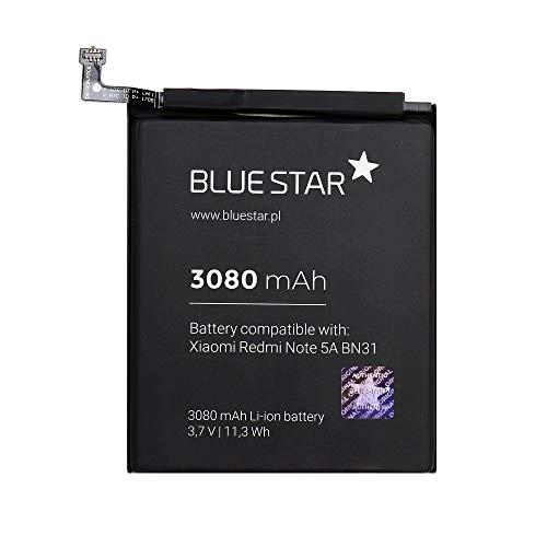 Blue Star Premium - Batería de Li-Ion Litio 3080 mAh de Capacidad Carga Rapida 2.0 Compatible con el Xiaomi Redmi Note 5A / 5X (BN31)