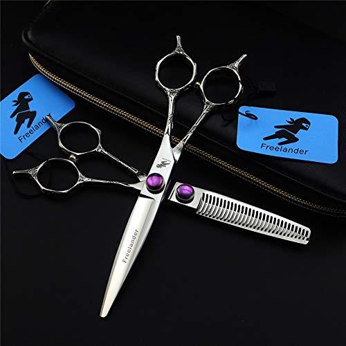 PSSS Kit de Tijeras de Corte de Pelo, Tijeras de peluquería de Doble Cola, 6,0 Pulgadas de Acero Inoxidable afeitadora de afeitarias Tijeras de peluquería para salón y Uso doméstico